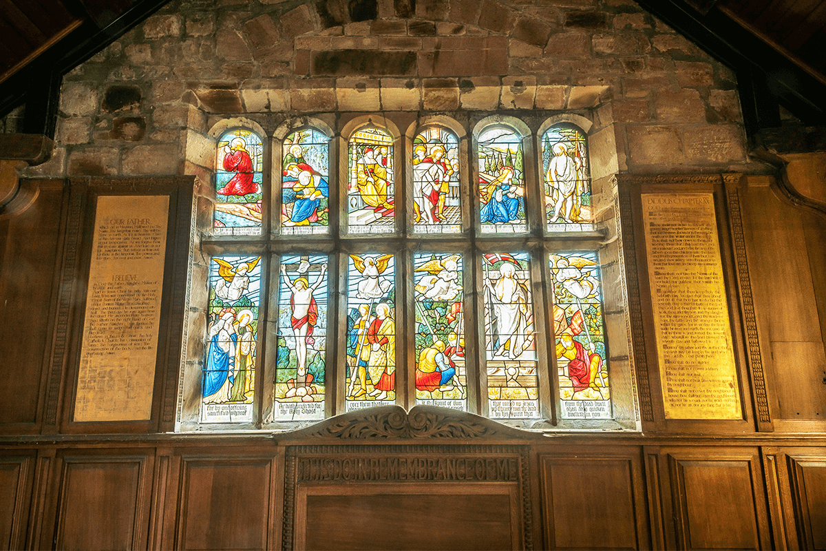 Harthill Church front stained glass windows